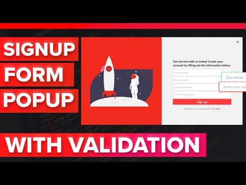 How To Make An Email Signup Form Popup Modal With Validation HTML, CSS, And Javascript Tutorial