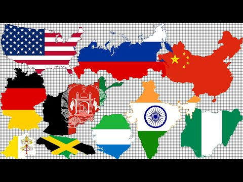 Comparison: Countries Size by Total Area.  All 195 countries.