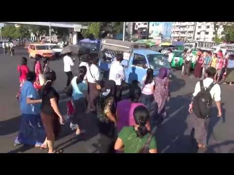 Traffic in Yangon / Rangoon, Burma