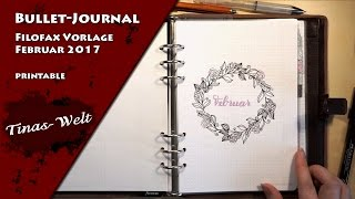 bullet journal filofax a5 printable februar 2017 vorlage