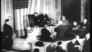 Madame Chiang Kai Shek addresses the House of Representatives in Washington DC, U...HD Stock Footage