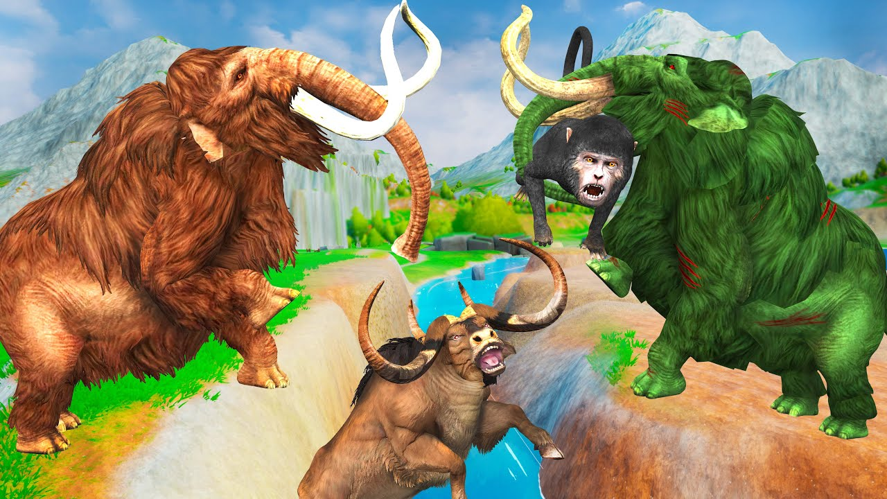 Zombie Mammoth vs Giant Bull Fight Baby Monkey Saved By Mammoth Elephant Giant Animal Fights Videos
