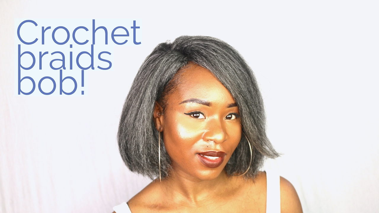 HOW TO : CROCHET BRAIDS GREY KINKY STRAIGHT BOB!