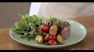 Grilled Steak And Roasted Baby Potato Salad Using Flora Pro-activ