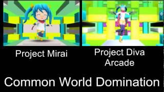 Project Mirai Deluxe Common World Domination PV Comparison 3DS Arcade