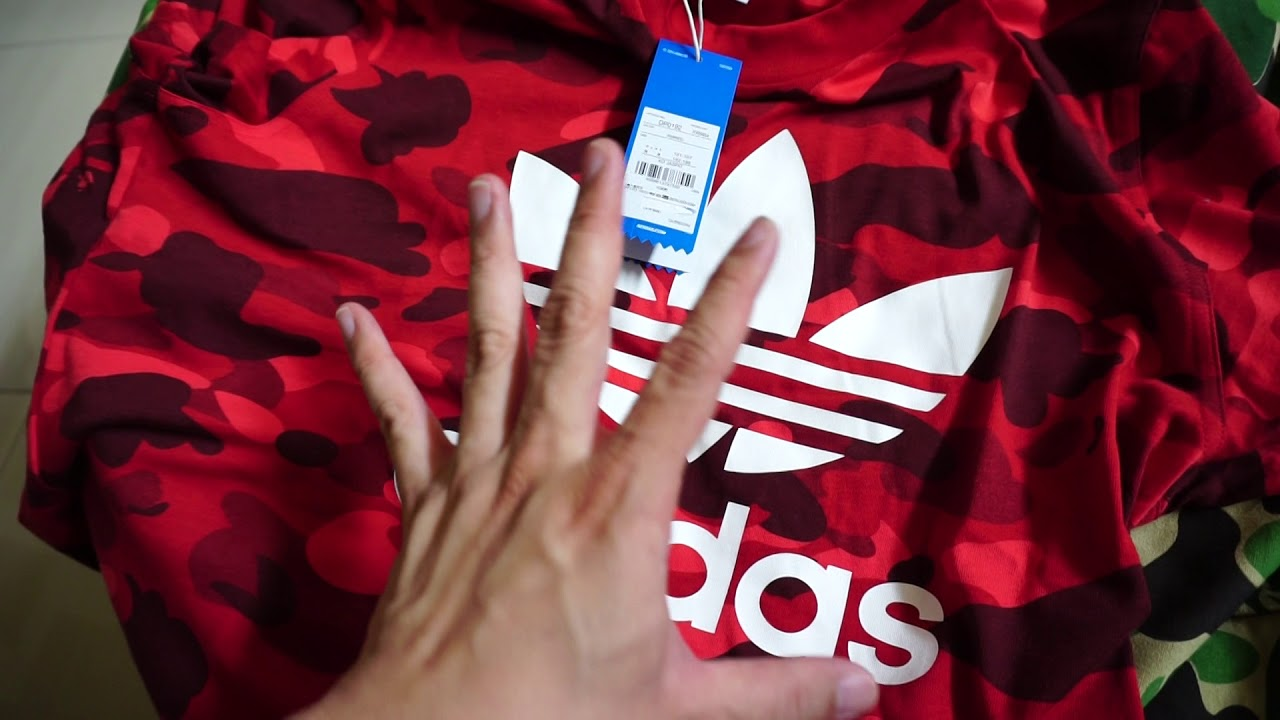 brand new a3d17 dd46e FW2018 Bathing Ape BAPE x Adidas Originals AdiColor Red Camo Streetwear  Dope Review  Unboxing