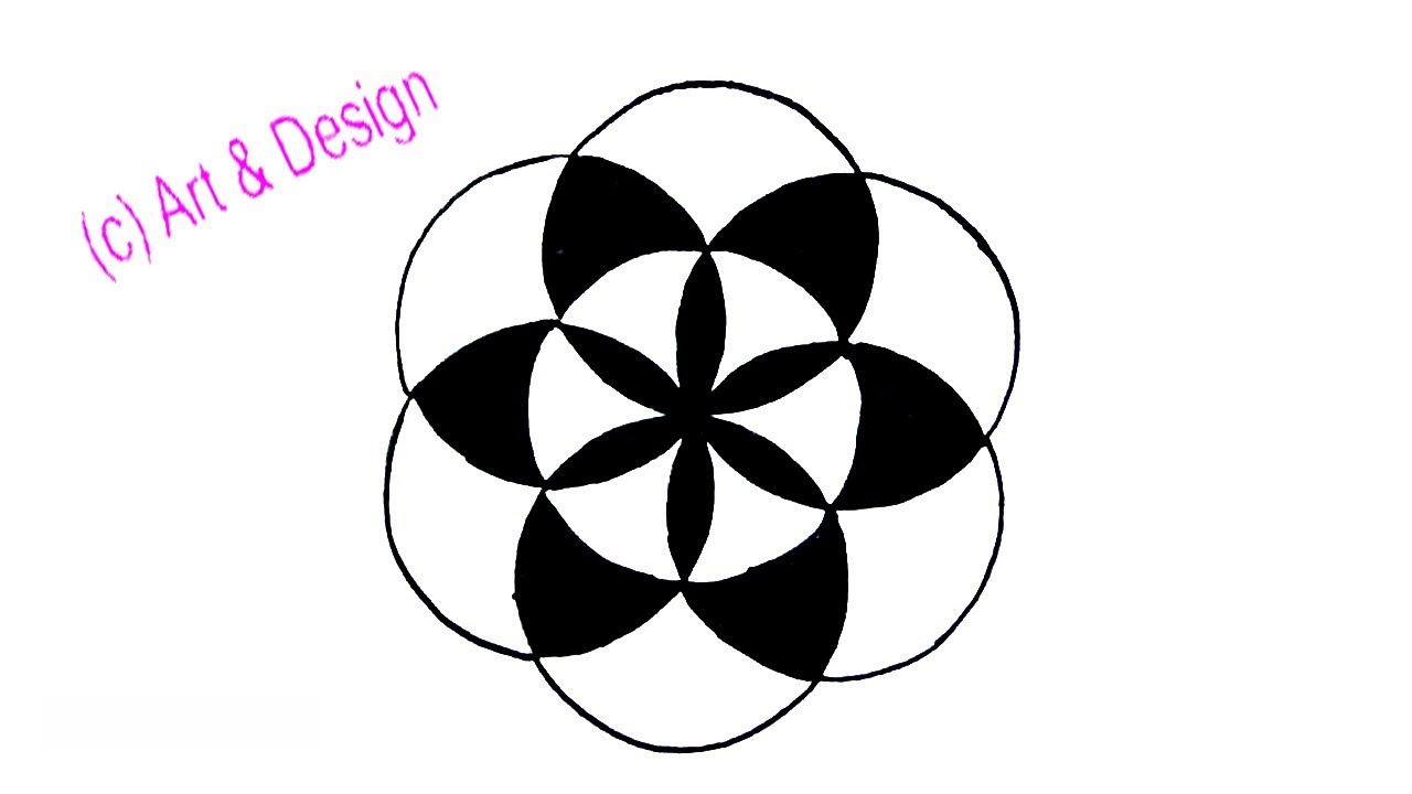 how to draw a simple design with circle step by step