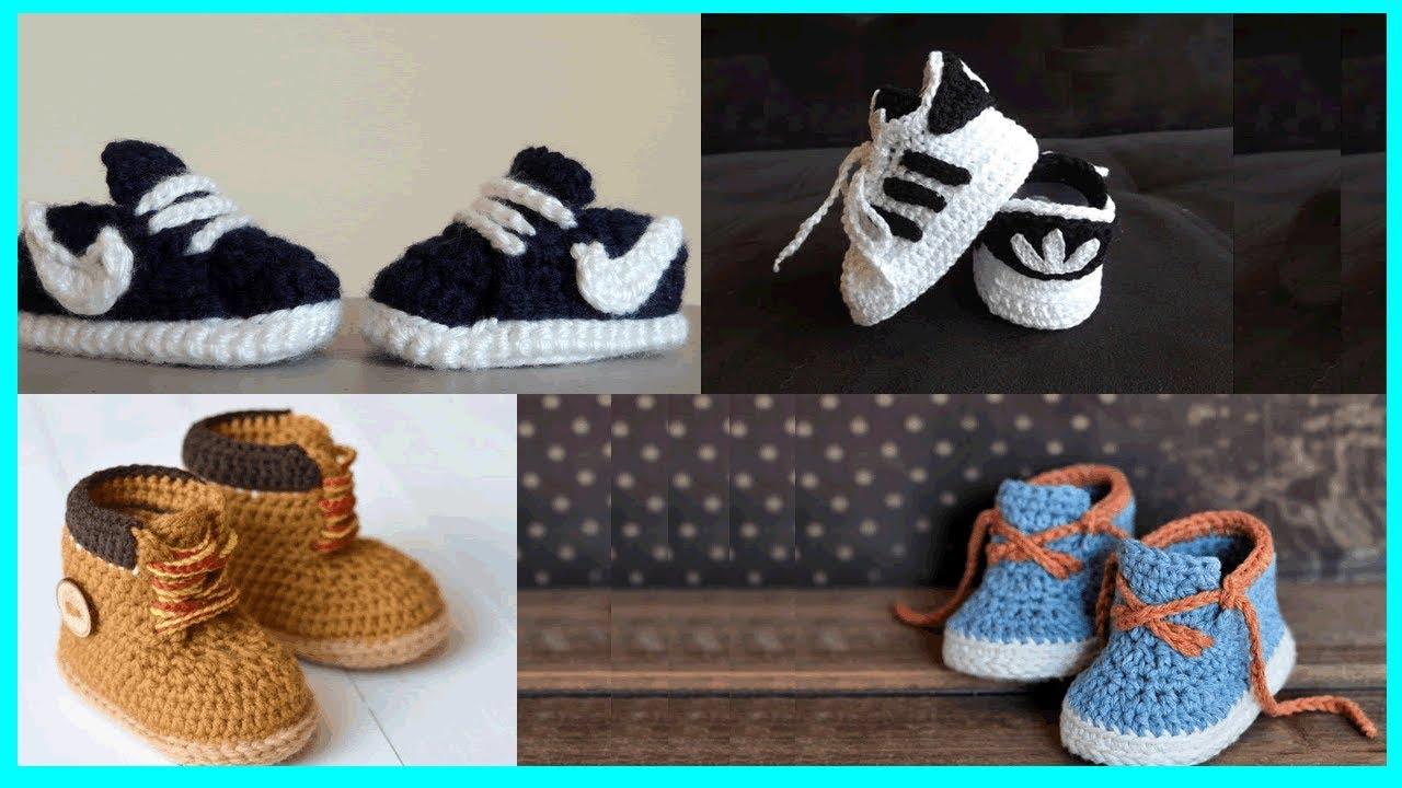 68c53e7d0 32 ideas de hermosos zapatitos para bebe niño tejidos en crochet ...