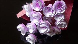 (ペーパーフラワー)コピー用紙で簡単に綺麗な色の薔薇の作り方【DIY】(Paper Flower) Easy beautiful color rose with copy paper