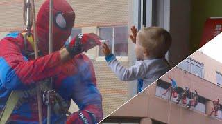 Window Cleaners Dress as Batman, Spider-Man to Cheer Kids in Iowa Hospital