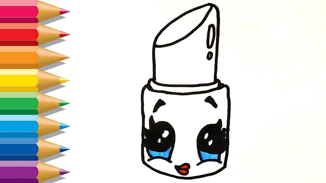 Cómo Dibujar Lindo Lápiz Labial Para Niños Dibujos Para Colorear Lindo Lápiz Labial Para Niños