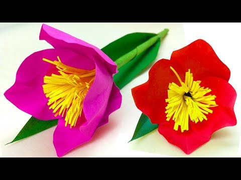 Tulip paper easy for kids step by step / diy paper flowers / gift for mom with paper for women's day