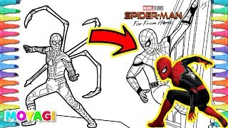 Drawing and Coloring Spiderman Far From Home 😍 Iron Spider | Spiderman Far From Home 2019