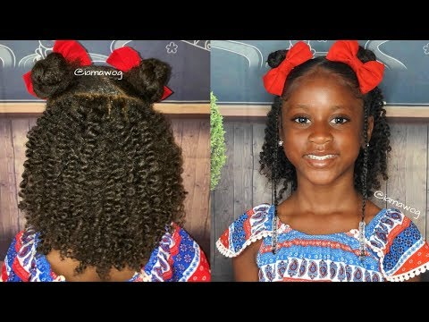 Kids Back To School Hairstyle: Twist, Braids And Buns | Kids Natural Hairstyle | IAMAWOG