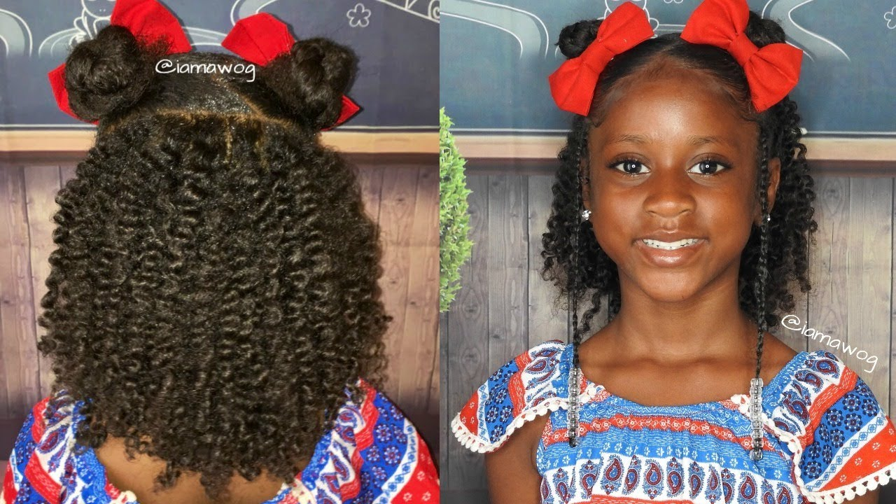 Kids Back To School Hairstyle Twist Braids And Buns
