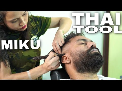 ASMR Head Massage | Crackings | MIKKU BARBER | THAI WOOD TOOL