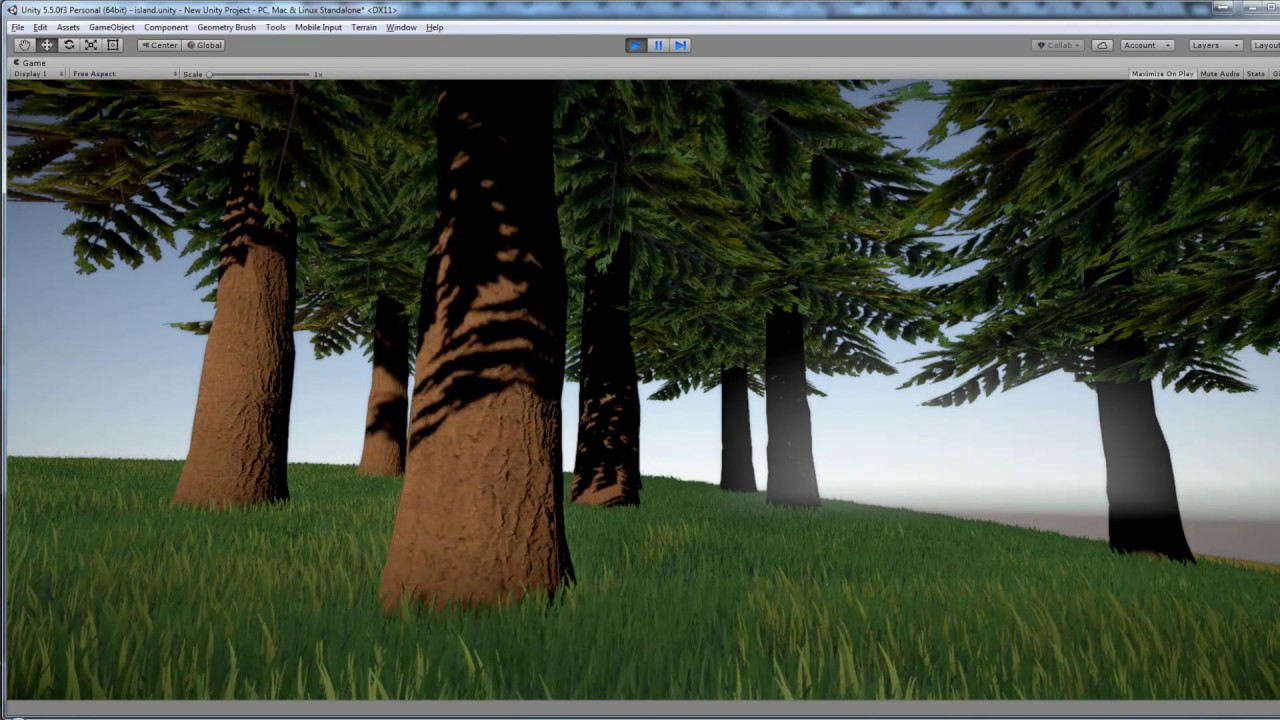 Unity 5 Grass and Trees with wind shader