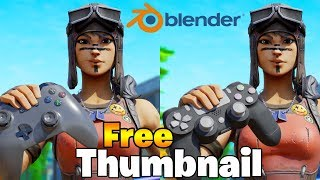 Free Thumbnail Renegade Raider Skin w/ PS4 and Xbox in Blender (Fortnite 3D Thumbnail Speed Art)