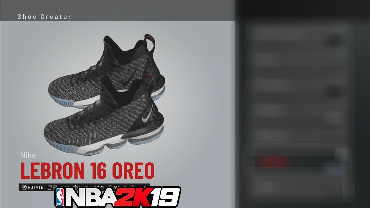 7264d1c8313f23 NBA 2K19 Shoe Creator LeBron 16 Oreo   NBA2K19  - YouTube