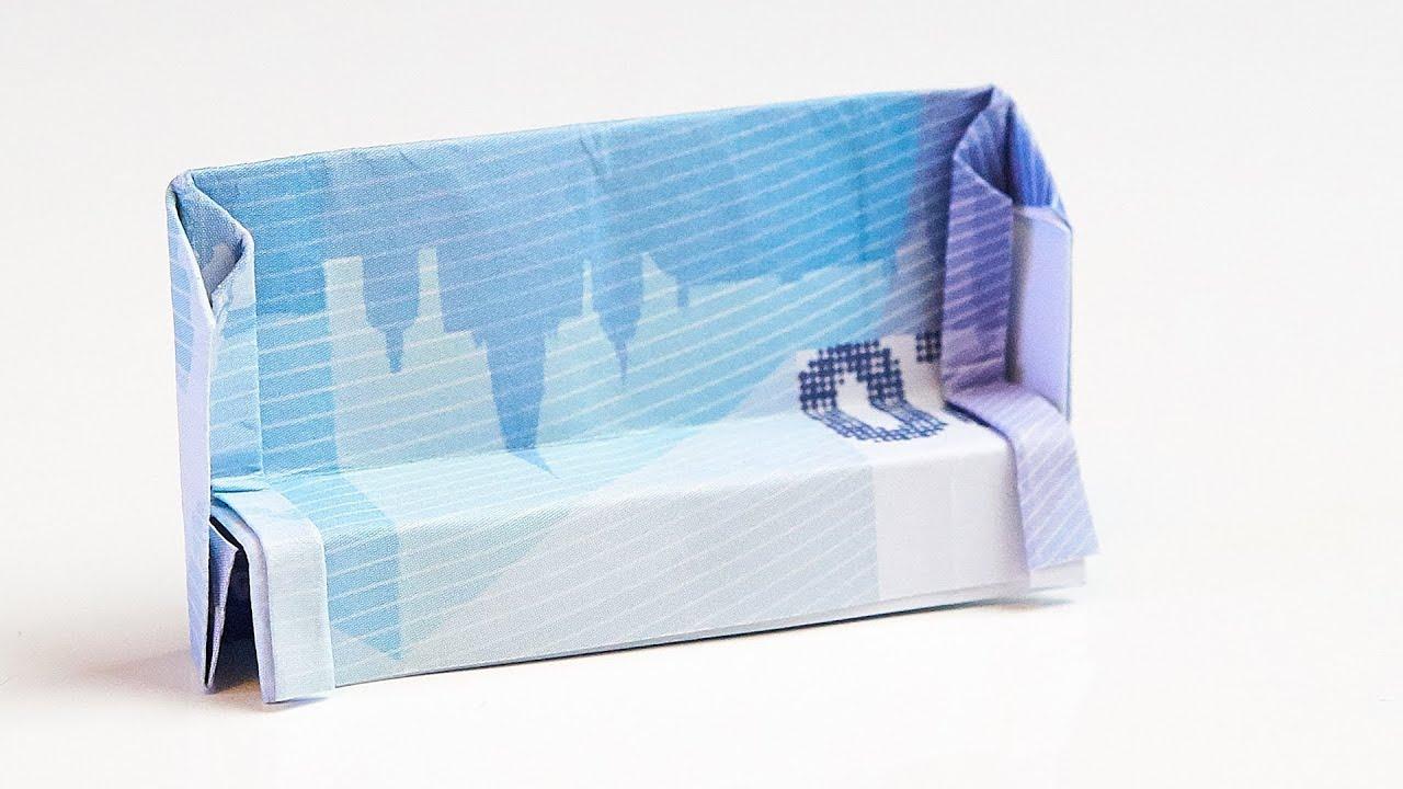 geschenk zum einzug sofa aus geld falten youtube. Black Bedroom Furniture Sets. Home Design Ideas