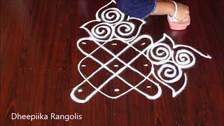 very easy friday kolam design with 3x3 dots * simple daily kolams * small muggulu