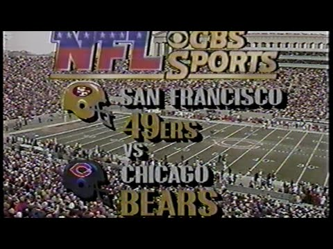 """To me this will be always be perfect: Pat Summerall introduces the Unstoppable Force (SF) vs the Immovable Object (CHI) of the 80s, with the CBS """"pots and pans"""" NFL theme."""