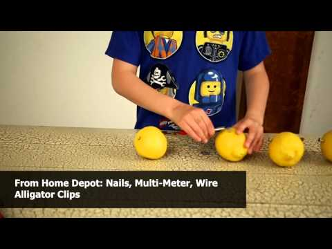 How To Light a Bulb With Citrus Fruit - Science Fair Experiment