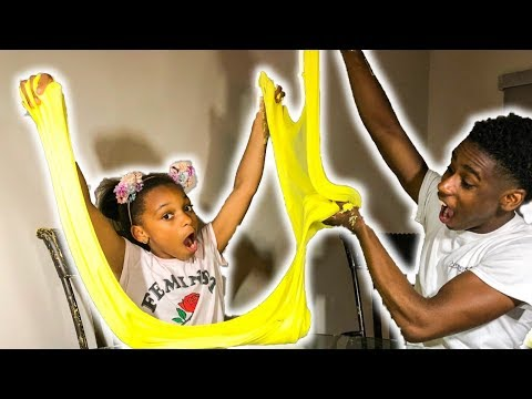 DIY GIANT FLUFFY YELLOW SLIME!!!