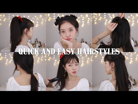 QUICK AND EASY HAIRSTYLES | KPOP Inspired Korean Hair Styles with $2 Bangs - YouTube