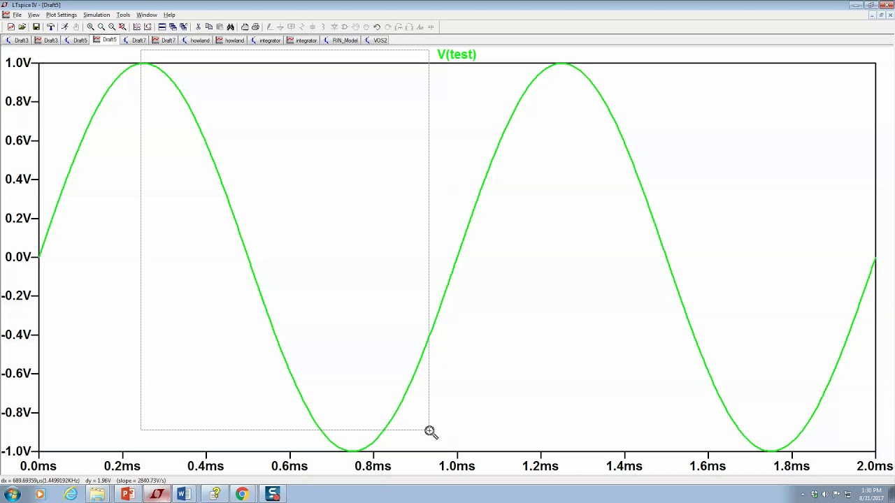 Measuring Rms Of A Signal With Ltspice Youtube And Here Is The New Schematic Followed By Plot V In