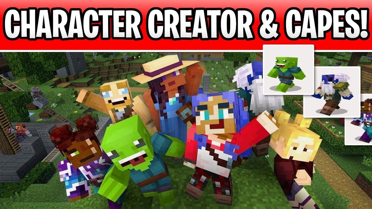 Minecraft Custom Character Creator & Capes Are Coming! Bedrock Beta Custom  Skins