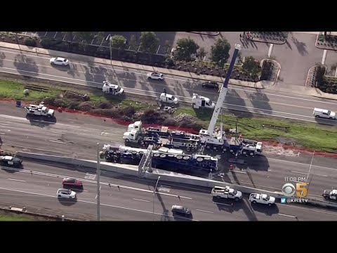 Overturned Crane Causes Daylong Traffic Nightmare in South Bay