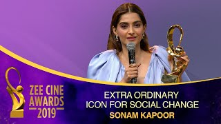 Fashion Queen Sonam K Ahuja | Extraordinary Icon for Social Change | Zee Cine Awards 2019