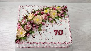 Украшение ОГРОМНОГО торта белковым кремом ПРОСТЫМИ насадками Торт на ЮБИЛЕЙ