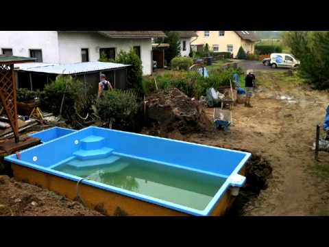 Projekt pool der einbau tag 6 youtube for Pool stahlwand eckig
