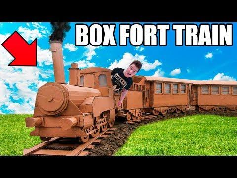 BOX FORT TRAIN HEIST!!  Nerf War, Working Train & More!