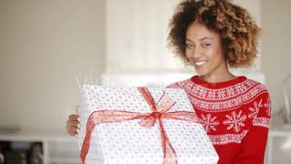 Brunette Girl In Santa Claus Hat Opening Gift - (people) Stock Footage | Mega Pack +40 items