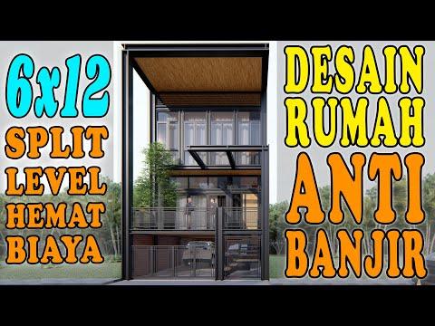 DESAIN RUMAH 6X12 ANTI BANJIR, DESAIN RUMAH INDUSTRIAL SPLIT LEVEL KEKINIAN DESIGN BY ORLEANS STUDIO