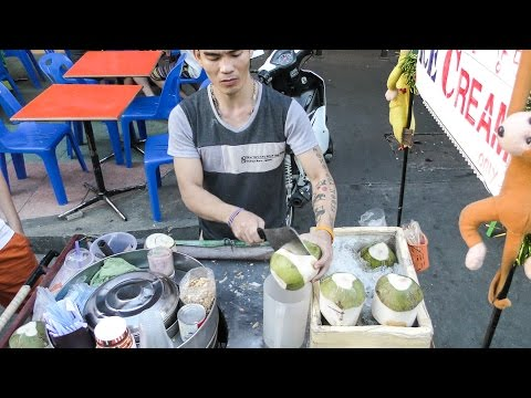 Bangkok Street Food. The Coconut Ice Cream. Seen in Khao San Road