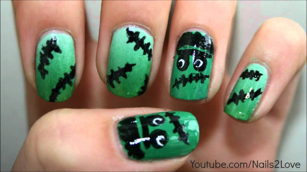 Frankenstein For Halloween Nail Art Tutorial Collab With