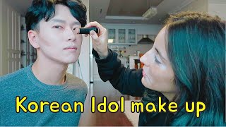 Brazilian friend does Korean Idol Makeup on me