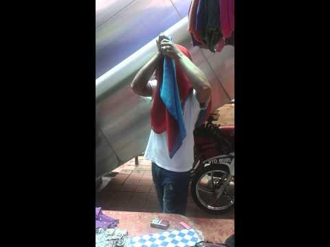 Tutorial pakai shawl dua tone