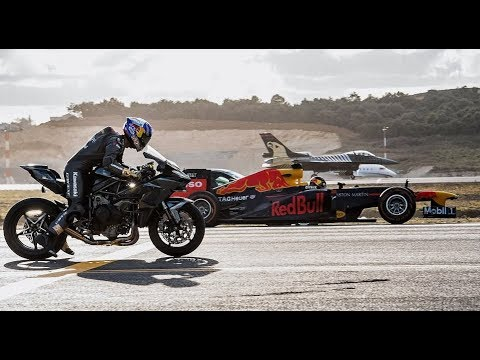 Kawasaki Ninja H2r Vs F1 Car Vs F16 Fighter Jet Vs Super Cars Vs