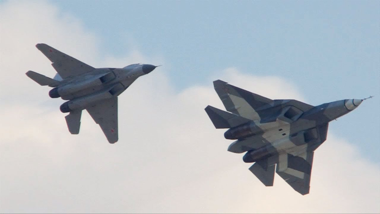 Sukhoi T 50 PAK FA And MiG 29M2 Moscow 2012