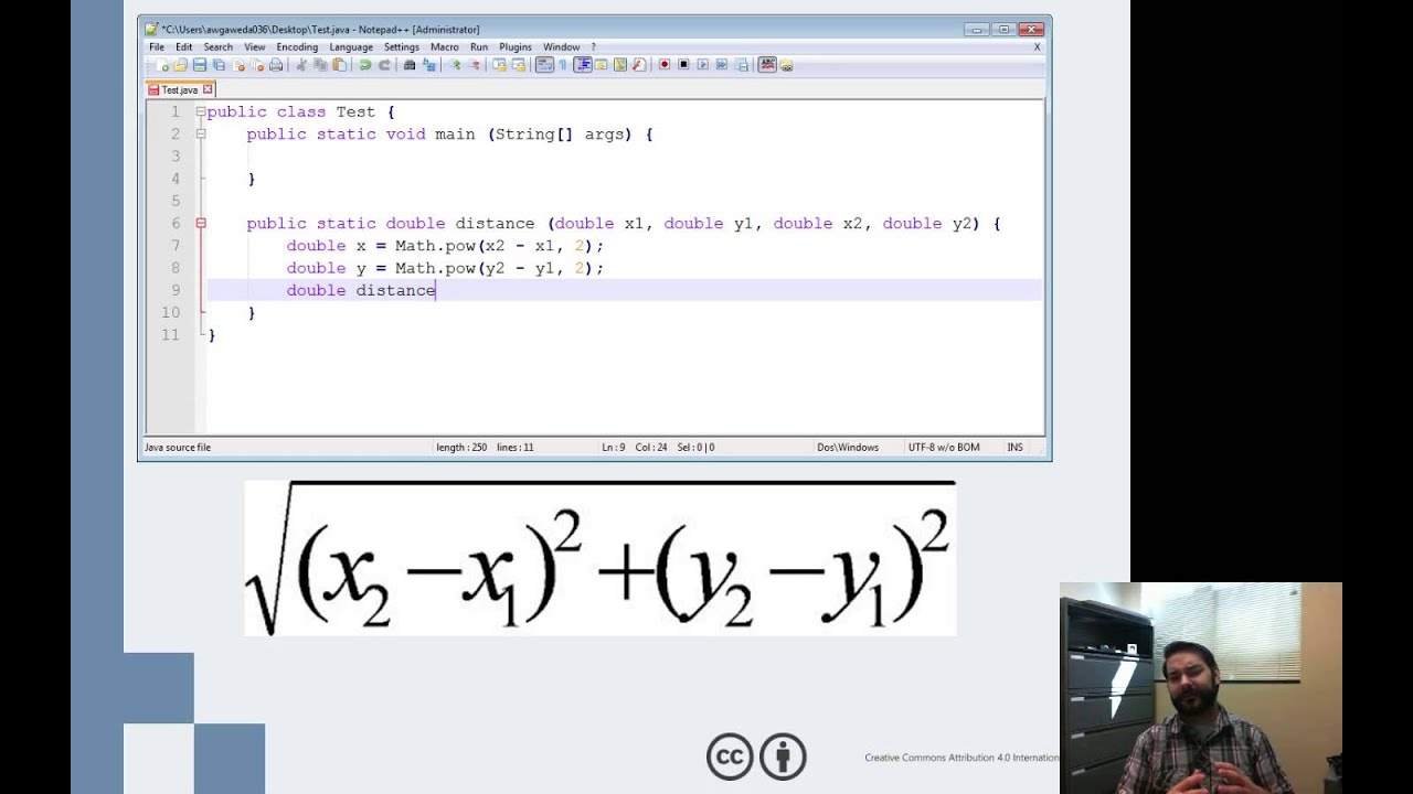 Writing the Distance Method in Java - YouTube