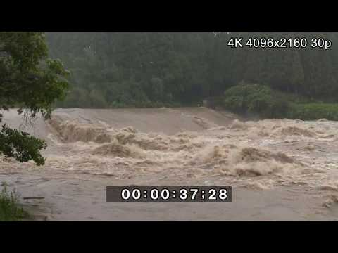 Strong Winds And Raging River - Typhoon Noru 4K Stock Footage