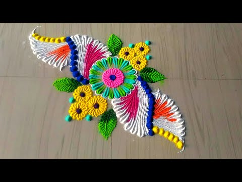 5 minutes easy and simple rangoli designs/creative rangoli designs by jyoti Rathod
