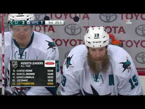 Thornton collects his 1000th assist on Pavelski's goal