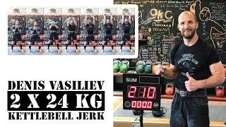 Denis Vasiliev | Jerk with two 24 kg kettlebells -  210 reps in 10 minutes (2018)
