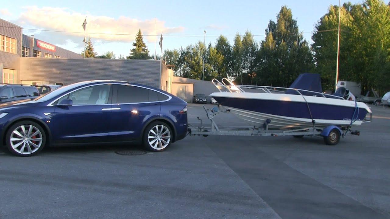 Tesla Model X Towing A Boat Youtube